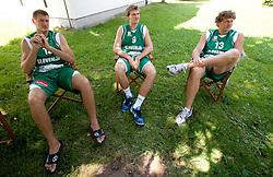 Goran Jagodnik, Zoran Dragic and Miha Zupan during filming of video for Eurobasket Lithuania 2011 of Slovenian National Basketball team during training camp in Kranjska Gora, on July 12, 2011, in Kranjska Gora, Slovenia. (Photo by Vid Ponikvar / Sportida)