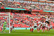 Jack Holland of Bromley FC (6) takes a shot at goal during the FA Trophy match between Brackley Town and Bromley at Wembley Stadium, London, England on 20 May 2018. Picture by Stephen Wright.