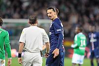 Ruddy BUQUET /  Zlatan IBRAHIMOVIC - 25.01.2015 - Saint Etienne / PSG  - 22eme journee de Ligue1<br />Photo : Jean Paul Thomas / Icon Sport
