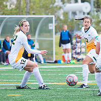 2nd year defender Lauren Petras (12) of the Regina Cougars in action during the Women's Soccer Home Game on September 23 at U of R Field. Credit Matt Johnson/©Arthur Images 2017