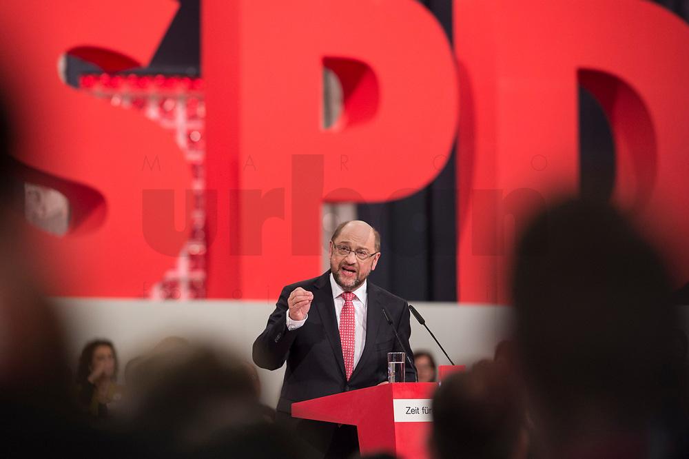19 MAR 2017, BERLIN/GERMANY:<br /> Martin Schulz, SPD, haelt seine Rede vor seiner Wahl zum SPD Parteivorsitzenden und SPD Spitzenkandidat der Bundestagswahl, a.o. Bundesparteitag, Arena Berlin<br /> IMAGE: 20170319-01-026<br /> KEYWORDS: party congress, social democratic party, candidate, speech