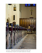 10/21/05:  Waterline and mold on pews at the First Presbyterian Church on South Claiborne Avenue.