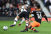 Sheffield Wednesday defender Liam Palmer (16) brings down Derby County forward Johnny Russell (7) during the EFL Sky Bet Championship match between Derby County and Sheffield Wednesday at the iPro Stadium, Derby, England on 29 October 2016. Photo by Jon Hobley.