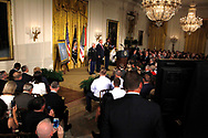 President Donald Trump presenting the Medal of Honor to former Specialist Five James C. McCloughan, U.S. Army.in the East Room of the White House on July 31, 2017<br />