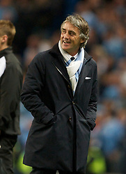 MANCHESTER, ENGLAND - Monday, April 30, 2012: Manchester City's manager Roberto Mancini against Manchester United during the Premiership match at the City of Manchester Stadium. (Pic by David Rawcliffe/Propaganda)