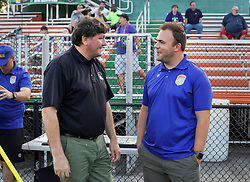 10 May 2016. New Orleans, Louisiana.<br /> NPSL Soccer, Pan American Stadium.<br /> Head coach Kenny Farrell of the New Orleans Jesters (l) with head coach Greg Palmer of the Shreveport Rafters FC before the kick off of the first leg of the Louisiana Cup. Jesters win 2-0. <br /> Photo; Charlie Varley/varleypix.com
