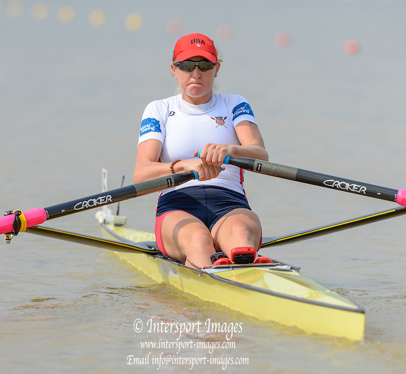 Chungju, South Korea. USA W1X, Eleanor [Elle] LOGAN, off the start, Semi Finals, Women's single sculls,    2013 World Rowing Championships, Tangeum Lake, International Regatta Course.  Friday  30/08/2013 [Mandatory Credit. Peter Spurrier/Intersport Images]