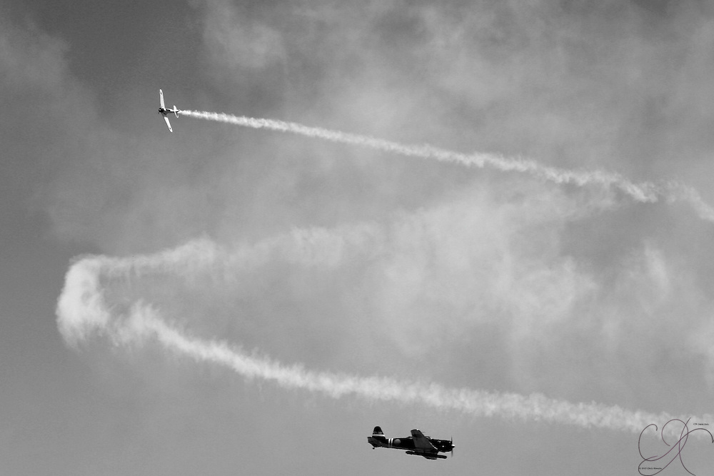 The Tora! Tora! Tora! group re enactes the Japanese attack on Pearl Harbor, using AT-6 Texans standing in for the original Zeros during the 2008 McChord Air Expo