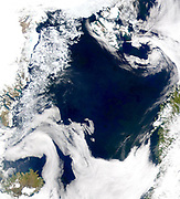 Credit Provided by the SeaWiFS Project, NASA/Goddard Space Flight Centre, and ORBIMAGE    The cold, productive waters of the Greenland Sea and Norwegian Sea are revealed in this SeaWiFS image.