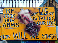 A hand-painted sign expresses anger over the BP oil spill March 5, 2011 in Galliano, La. Louisiana was heavily impacted by the Deepwater Horizon oil spill April 20, 2010 and continues to recover. (Photo by Carmen K. Sisson/Cloudybright)