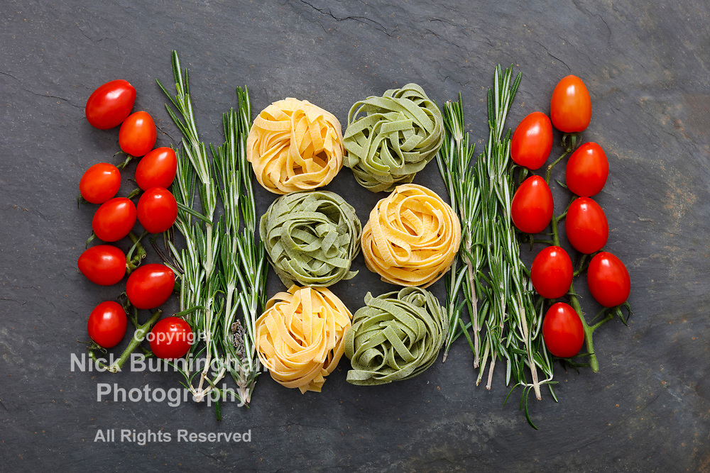 Ingredients for Italian pasta meal with tagliatelle
