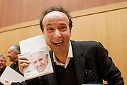Vatican City jan 12th 2016, presentation of the book ' The name of God is Misery ' an interview to Pope Francis. In the picture the actor Roberto Benigni