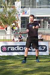 LIVERPOOL, ENGLAND - Monday, June 10, 2013: Radio City's Steve Hothersall during a corporate tennis tournament at Chavasse Park in Liverpool ONE ahead of the Liverpool Hope University International Tennis Tournament. (Pic by David Rawcliffe/Propaganda)