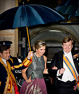 AMSTERDAM - Queen Maxima and king willem, alexander at the annual gala dinner for the Corps Diplomatique in the Royal Palace on the Dam in Amsterdam. copyright robin utrecht