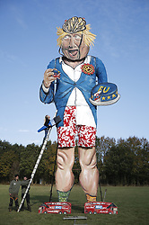 © Licensed to London News Pictures. 31/10/2018. Edenbridge, UK. An effigy of former foreign secretary Boris Johnson is unveiled in Edenbridge, Kent ahead of its burning at the town's bonfire this Saturday. Photo credit: Peter Macdiarmid/LNP
