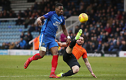 Omar Bogle of Peterborough United in action with John White of Southend United - Mandatory by-line: Joe Dent/JMP - 03/02/2018 - FOOTBALL - ABAX Stadium - Peterborough, England - Peterborough United v Southend United - Sky Bet League One