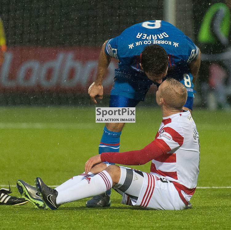 #6 Josh Meekings (Inverness Caledonian Thistle) and #6 Grant Gillespie (Hamilton Academical) have a frank exchange of views • Hamilton Academical v Inverness Caledonian Thistle • SPFL Premiership • 30 December 2015 • © Russel Hutcheson | SportPix.org.uk