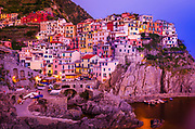 Evening light on Manarola, Cinque Terre, Liguria, Italy