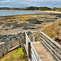 Right Point along Cat Bay on Summerland Peninsula on Phillip Island, Australia<br /> From the Penguin Parade, drive a short distance north on St Helens Road until you reach Ventor Road and then find a place to park. Wooden steps head down to Right Point or the adjacent Shelly Beach. This rock littered shoreline seems unattractive at low tide. But when the waves are surging across Cat Bay, this National Surfing Reserve is great for beginners and experience surfers, especially during the week when the crowd is absent. So squirm into your wetsuit, grab your board and catch a wave.
