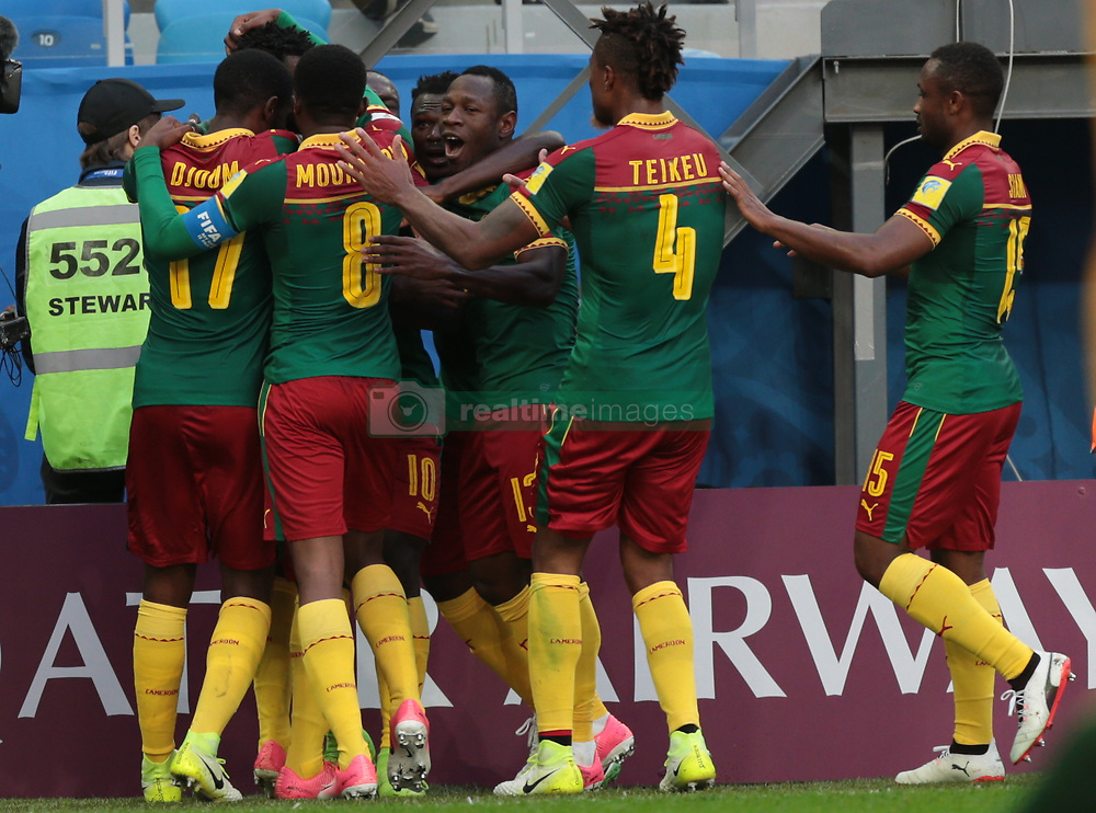 June 22, 2017 - Saint Petersburg, Russia - Players of the Cameroon national football team celebrates after scoring a goal during the 2017 FIFA Confederations Cup match, first stage - Group B between Cameroon and Australia at Saint Petersburg Stadium on June 22, 2017 in St. Petersburg, Russia. (Credit Image: © Igor Russak/NurPhoto via ZUMA Press)