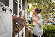 Kalli Parauka in the 2014 Youth Corps pilot project knocks on doors during a Gospel Seeds session near Shepherd of the City Lutheran Church on Tuesday, August 12, 2014, in Philadelphia, Pa. LCMS Communications/Erik M. Lunsford