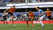 Wolverhampton Wanderers midfielder Dave Edwards heads towards goal during the Sky Bet Championship match between Queens Park Rangers and Wolverhampton Wanderers at the Loftus Road Stadium, London, England on 23 January 2016. Photo by Andy Walter.