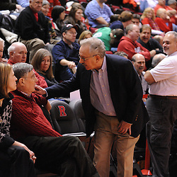 Jan 31, 2009; Piscataway, NJ, USA; Rutgers Interim Athletic Director speaks with displaced Athletic Director Robert Mulcahy before Rutgers' 75-56 victory over DePaul in NCAA college basketball at the Louis Brown Athletic Center
