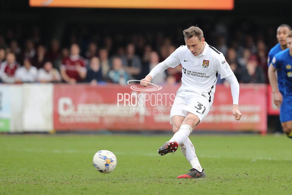 Northampton Town midfielder Matthew Taylor (31) scores a goal 0-1 from the penalty spot during the EFL Sky Bet League 1 match between AFC Wimbledon and Northampton Town at the Cherry Red Records Stadium, Kingston, England on 11 March 2017. Photo by Stuart Butcher.