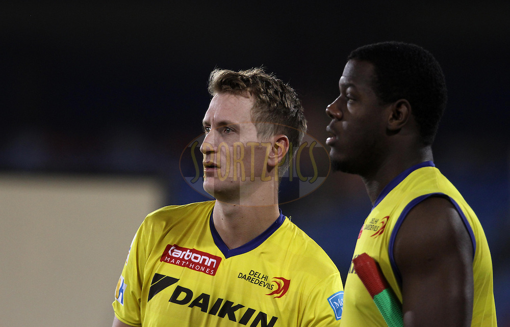 Delhi Daredevils player Christopher Morris and Delhi Daredevils player Carlos Brathwaite during match 52 of the Vivo Indian Premier League ( IPL ) between the Delhi Daredevils and the the Sunrisers Hyderabad held at the Shaheed Veer Narayan Singh International Cricket Stadium, Naya Raipur, India on the 20th May 2016<br /> <br /> Photo by Vipin Pawar / IPL/ SPORTZPICS