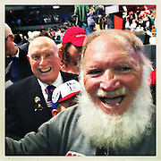 Excited Trump supporters delighted after getting his autograph.<br /> <br /> Donald Trump's primary rally in West Virginia's state capital at the Charleston Civic Center. After Cruz and Kasich bowed out of the race for the Republican Party, Trump, the presumptive Republican election candidate was in West Virginia celebrating a victory lap.<br /> Trump has promised to re-open closed coal mines and get miners back to work, a very popular platform in this coal state which is one of the nation's poorest.