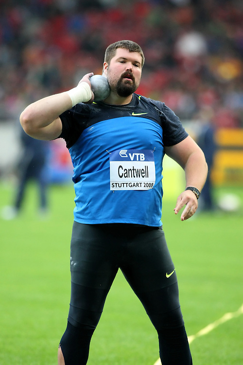 (Stuttgart, Germany---13 September 2008) Christian Cantwell of the USA throws to finish second (20.73) in the shot put at the 2008 IAAF World Athletics Final. [Copyright Sean W. Burges/Mundo Sport Images, 2008.]