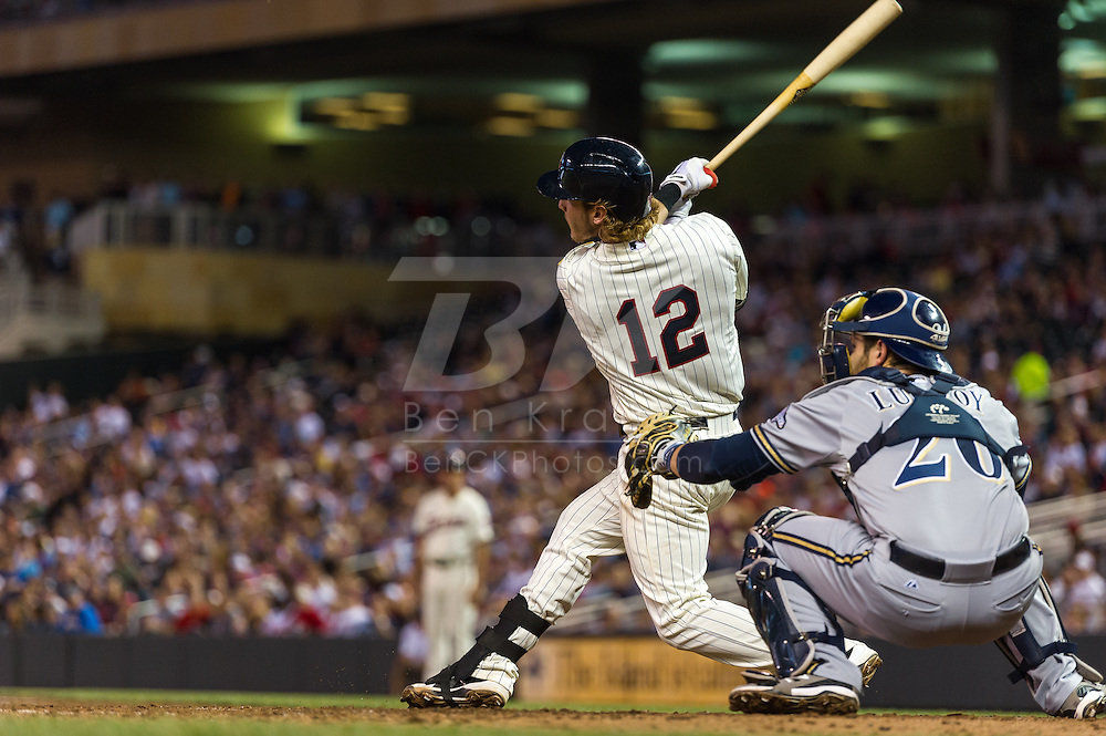 Chris Herrmann #12 of the Minnesota Twins bats against the Milwaukee Brewers on May 29, 2013 at Target Field in Minneapolis, Minnesota.  The Twins defeated the Brewers 4 to 1.  Photo: Ben Krause