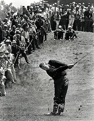 Billy Casper hits shot while winning the 1966 U.S. Open at the Olympic Club in San Francisco. (photo/Ron Riesterer)