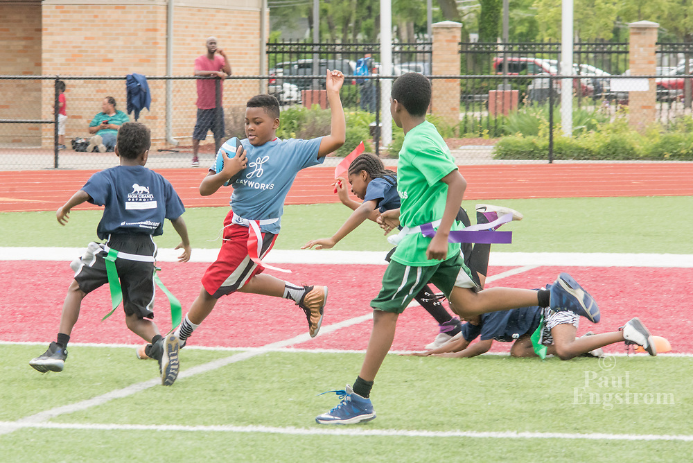 Playworks, a non-profit that promotes play and physical activity among youth, holds its last flag football games of the school year at Hazel Park High in Southeast Michigan.