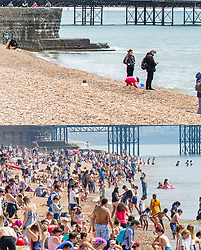 **Use requires payment for two pictures**<br /> © Licensed to London News Pictures. Comparison showing cold and damp whether today 05/05/2019 (TOP) and a packed beach in warm weather on early May bank holiday weekend in 2018, 06/05/2018 (BOTTOM). Photo credit: Hugo Michiels/LNP