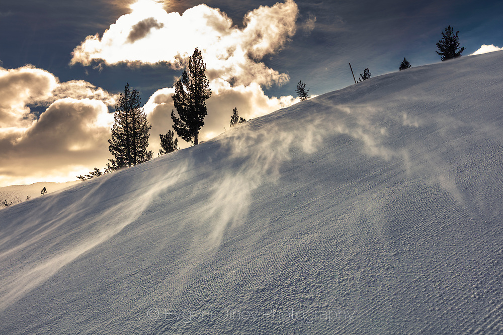 Strong wind rises the snow at ski area