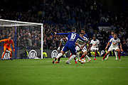 Chelsea FC forward Eden Hazard (10) going on another mazy run during the Europa League match between Chelsea and MOL Vidi at Stamford Bridge, London, England on 4 October 2018.