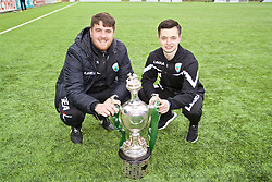 RHOSYMEDRE, WALES - Sunday, May 5, 2019: xxxx (L) and Match Analyst Joe Newton (R) with the trophy after the FAW JD Welsh Cup Final between Connah's Quay Nomads FC and The New Saints FC at The Rock. The New Saints won 3-0. (Pic by David Rawcliffe/Propaganda)
