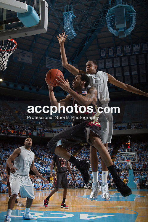 24 February 2010: Florida State Seminoles gurad Derwin Kitchen (22), guarded by UNC forward John Henson (31) during a 77-67 win over the North Carolina Tar Heels at the Dean E. Smith Center in Chapel Hill, NC.