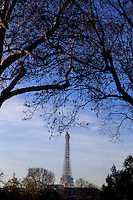 The Eiffel Tower as seen from a small park near Les Invalides in Paris, France
