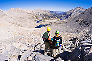 Climbers on the approach to Bear Creek Spire, John Muir Wilderness, Sierra Nevada Mountains, California