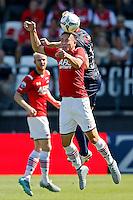 ALKMAAR - 23-08-15, AZ - Willem II, AFAS Stadion, AZ speler Thom Haye (m), Willem II speler Nick van der Velden (r), AZ speler Jop van der Linden (l).