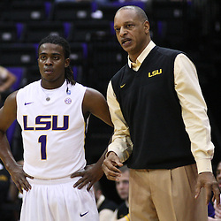 December 15, 2011; Baton Rouge, LA; LSU Tigers head coach Trent Johnson talks with guard Anthony Hickey (1) during the first half of a game against the UC Irvine Anteaters at the Pete Maravich Assembly Center.  Mandatory Credit: Derick E. Hingle-US PRESSWIRE
