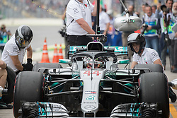 November 9, 2018 - Sao Paulo, Sao Paulo, Brazil - LEWIS HAMILTON, of Mercedes AMG Petronas, drives during the free practice session for the Formula One Grand Prix of Brazil at Interlagos circuit, in Sao Paulo, Brazil. The grand prix will be celebrated next Sunday, November 11. (Credit Image: © Paulo LopesZUMA Wire)