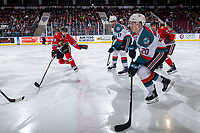 KELOWNA, CANADA - MARCH 2:  Nick Cicek #29 of the Portland Winterhawks stick checks Conner Bruggen-Cate #20 of the Kelowna Rockets during third period on March 2, 2019 at Prospera Place in Kelowna, British Columbia, Canada.  (Photo by Marissa Baecker/Shoot the Breeze)