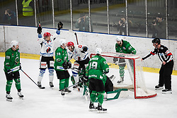 during ice hockey match between HK SZ Olimpija and HDD Sij Acroni Jesenice in 1. Round of Playoff  in Alps Hockey League 2019/20, on February 13, 2020, in Hala Tivoli, Ljubljana, Slovenia. Photo By Grega Valancic / Sportida