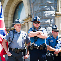 Jul 20, 2016; Cleveland, OH, USA; Police stand at attention in downtown Cleveland at the site of the Republican National Convention.