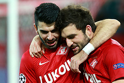 October 18, 2017 - Moscow, Russia - October 17, 2017. Russia, Moscow, Otkritie Arena Stadium. Spartak's player  and Sevilla's player  in the 2017/18 UEFA Champions League's group stage match between Spartak (Moscow, Russia) and Sevilla FC  (Credit Image: © Russian Look via ZUMA Wire)
