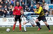 FODBOLD: Mads Aaquist (FC Helsingør) følges af Jonas Brix-Damborg (Hobro IK) under kampen i NordicBet Ligaen mellem FC Helsingør og Hobro IK den 23. april 2017 på Helsingør Stadion. Foto: Claus Birch