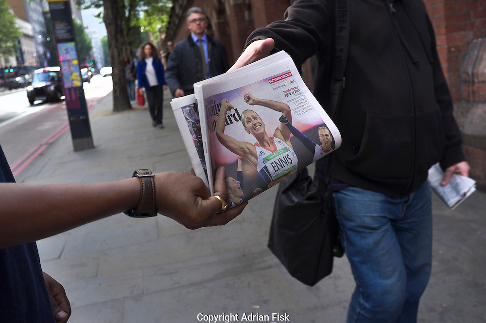 Jessica Ennis, British winner of gold in the Olympic Heptathlon adorns the cover of the Evening Standard newspaper